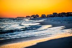 Orange sunset over gulf of mexico at destin fl Royalty Free Stock Photo