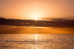 Orange Sunset over the Gulf of Mexico off the west coast of Florida Royalty Free Stock Photos