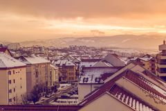 Orange sunset over the neighborhood. Orange sunset in the neighborhood with the Carpathian mountains in the background Stock Photography