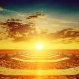 Orange sunset over railroad Royalty Free Stock Photo