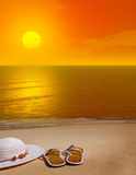 Orange Sunset on Beach Stock Photography