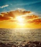 Orange sunset over sea Stock Photo