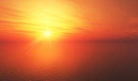 Orange sunset over sea Royalty Free Stock Photos