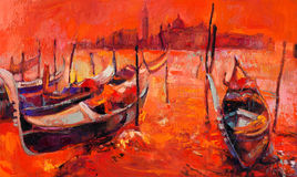Orange sunset over Venice. Original oil painting of beautiful Venice, Italy at sunset  on canvas.Modern Impressionism Royalty Free Stock Photos
