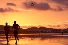 Orange sunset in playa Royalty Free Stock Images