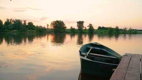 Orange sunset on pond. Orange sunset on fishing pond in summer stock video footage