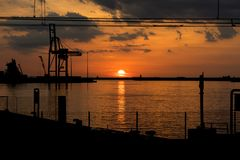 Marine port at sunset Royalty Free Stock Images