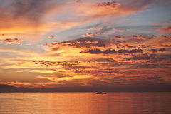 Orange sunset on the red sea Royalty Free Stock Photo