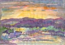 Orange sunset on the river stock illustration