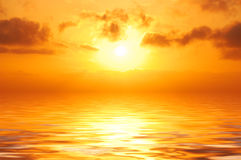 Orange sunset in sea Royalty Free Stock Photo