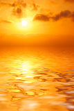 Orange sunset in sea royalty free stock photography