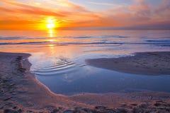 Orange sunset at sea Stock Image