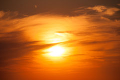 Orange Sunset on the sea horizon. Stock Photos
