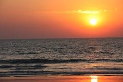 Orange sunset on the sea Royalty Free Stock Photos