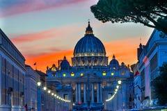 Orange Sunset Street Lights Saint Peter& x27;s Basilica Vatican Rome Italy. Orange Sunset Illuminated Street Lights Evening Via D. Conciliazione Saint Peter& x27 royalty free stock image