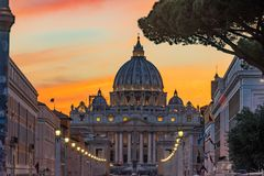 Orange Sunset Street Lights Saint Peter& x27;s Basilica Vatican Rome Italy. Orange Sunset Illuminated Street Lights Evening Via D. Conciliazione Saint Peter& x27 stock photography