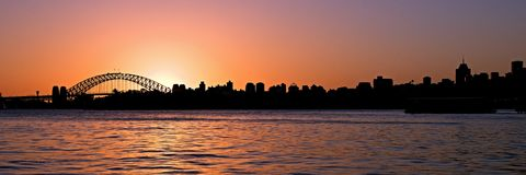 Orange Sunset. Sydney Skyline. Royalty Free Stock Photo