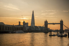 Orange sunset at the Tower Bridge, London Royalty Free Stock Image
