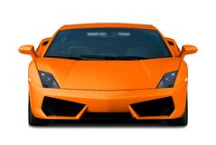 Orange supercar. Front view. Royalty Free Stock Image