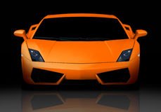 Orange supercar. Front view. Royalty Free Stock Images