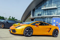 Orange supercar Royalty Free Stock Images
