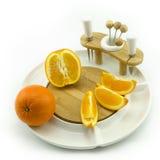 Orange sur le plat Images stock