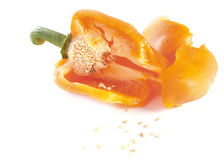 Orange sweet pepper paprika broken Royalty Free Stock Photo