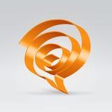Orange swirl speech balloon. Orange metallic glossy ribbon folded into swirl speech balloon Royalty Free Stock Image