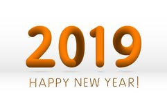 Orange 2019 symbol, happy new year isolated on white background, vector illustration. Art royalty free illustration