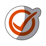 Orange symbol round with ok mark icon Stock Photos