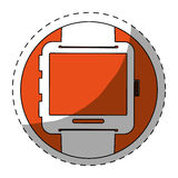 Orange symbol smartwatch button icon. Image,  illustration Stock Photo