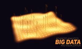 Orange täppavisualization för stora data Futuristiskt infographic Estetisk design för information Visuell datakomplexitet Fotografering för Bildbyråer