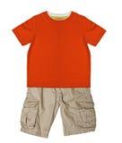 Orange t-shirt and shorts Stock Image