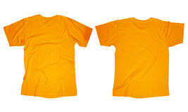 Orange T-Shirt Template. Wrinkled blank orange t-shirt template, front and back design isolated on white Royalty Free Stock Photography