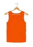 Orange t-shirts on hangers isolated on white Stock Images