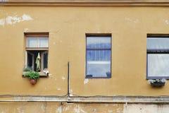 Orange tabby cat laying on the windowsill Stock Photos