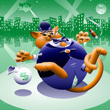 Fat Cat 2: Greenback City. Orange, tabby, Wall Street or corporate fat cat wearing a tuxedo and bowler hat having trouble holding onto his money sack, ripping Stock Photo