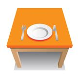 Orange table. With plate, knife and fork stock illustration