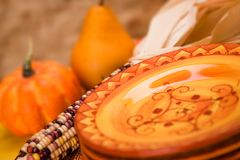 Orange Table. Table setting in orange. Fall like colors Royalty Free Stock Images