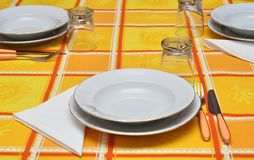 Orange table set Stock Photo