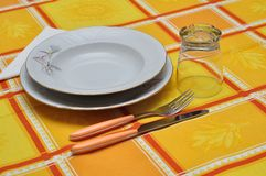 Orange table set Stock Photos