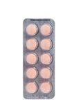 Orange Tablette in der transparenten Blisterpackung Lizenzfreies Stockfoto