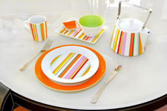Orange tableware Royalty Free Stock Images