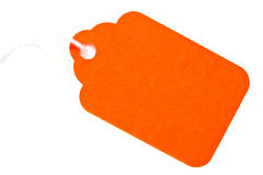 Orange Tag on White Stock Image