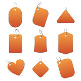 Orange tags. 100% vectors - white tags, labels Stock Photo