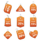 Orange tags - discount. 100% vectors - colored labels, tags Stock Illustration