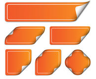 Orange tags. Set or collection of orange, 3D tags or stickers on a white background royalty free illustration