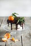 Orange tangerine cake with chocolate and cream Royalty Free Stock Image