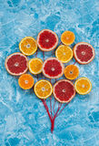 Orange, tangerine and grapefruit in conjunction as balloons. Royalty Free Stock Images