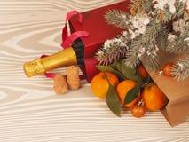 Orange Tangerinen nähern sich Winterbäumen Drei Weihnachtskugeln getrennt auf Weiß Lizenzfreies Stockfoto